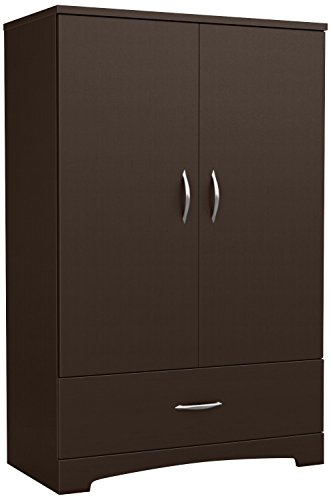 South Shore 2-Door Armoire with Adjustable Shelves and Storage Drawers, (3 Drawer 2 Door Armoire)