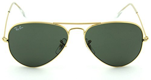 Ray-Ban RB3025 Aviator Large Metal Unisex Aviator Sunglasses (Gold Frame/ Grey Green Lens W3234, 55)