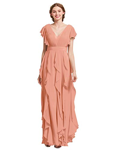 AW Bridal Plus Size Bridesmaid Dresses for Women Formal Dresses with Sleeves Chiffon Long Gowns and Evening Dresses, Peach Pink, US20