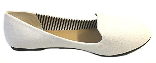 Shoes8teen Frauen Faux Wildleder Loafer Smoking Schuhe Wohnungen 3 Farben Weiß 4024