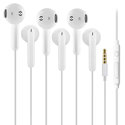 3 Pack 3.5mm Earbuds Ear Buds in Ear Headphones Wired Earphones with Mic Stereo and Volume Control Waterproof Metal Wired Earphone Compatible with Smartphone, MP3/MP4 Player and Tablet (White)