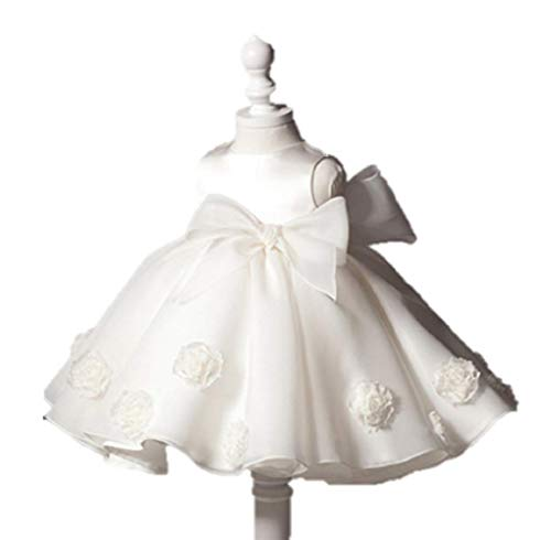 WonderMoms White Baby Princess Pearl Dress - for Special Occasion Birthday Holiday Party Wedding & Family Photos