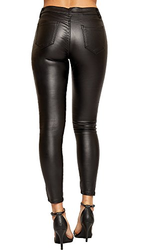 Cuir Dentelle Regardez En Jambe 34 Pu WEARALL Faux 42 Maigre Pantalons Humide Dames Jeans Noir Haut Femmes wgxIYnCqR