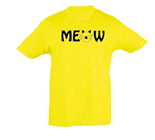 Et Enfants 2store24 Citron Shirt Meow Fille Pour Garçon Hv1XR