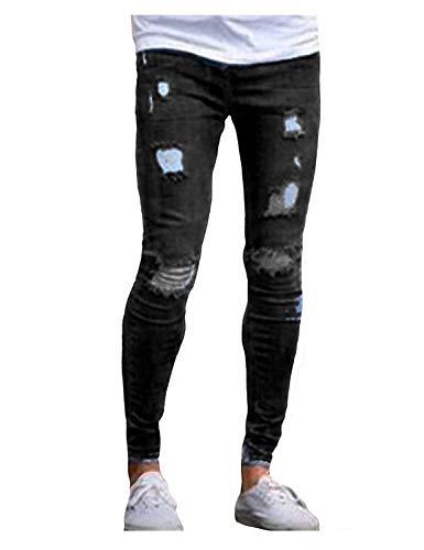 Per Slim Da Il Libero Pantaloni Strappati Confortevoli Fit Di Nero Stretch Distrutti Tempo Jeans Especial Uomo Estilo Passeggio FxxEq7P