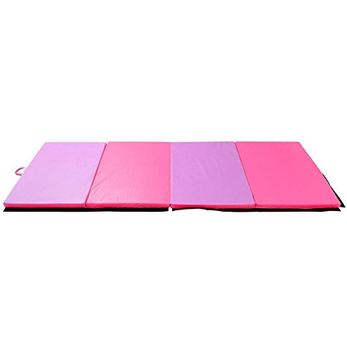 Folding Panel Gymnastics Mat 4' x 6' x 2'' Exercise Yoga Pad Tumbling With Ebook by MRT SUPPLY