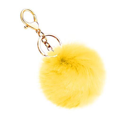 (Soleebee Soft Artificial Rabbit Fur Keychain Plom Pom Key Ring Cute Plush Ball Bag Charm for Women Girls (Yellow))