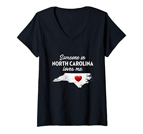 - Womens Someone In North Carolina Loves Me - North Carolina Shirt V-Neck T-Shirt