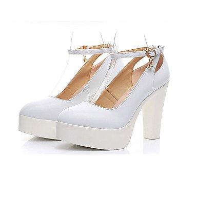 Cms Formales Y Casual Negro Otoño Cuero Confort 12 Tacón ggx Más Primavera Zapatos Blanco Mujer Robusto White Lvyuan Tacones qXZxpaR