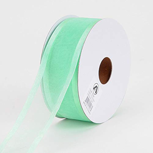 Fuzzy Fabric Two Striped Satin Edge Organza Ribbon, Mint - (W: 1-1/2 Inch   L: 100 Yards)