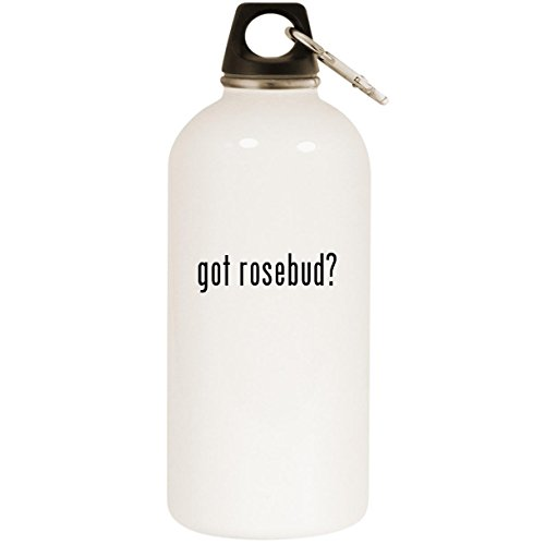 (Molandra Products got Rosebud? - White 20oz Stainless Steel Water Bottle with Carabiner)