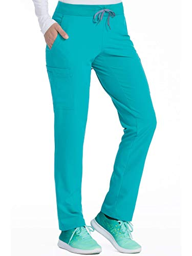 Med Couture Air Scrubs for Women, Yoga 2 Cargo Pocket Pant, Teal/Watermelon, Medium