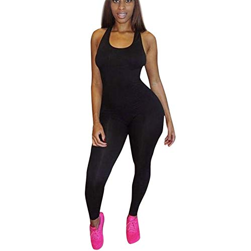 Thenxin Womens Tank Bodysuit O-Neck Sleeveless Bodycon Jumpsuit Solid Color Sport Workout Rompers(Black,M)