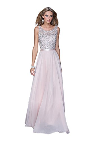 La Femme Sleeveless Chiffon Gown Blush - - Dresses La Formal Femme