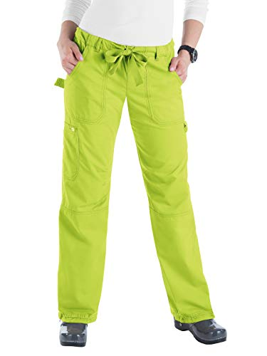 KOI Women's Lindsey Ultra Comfortable Cargo Style Scrub Pants (Petite Sizes), Key Lime, -