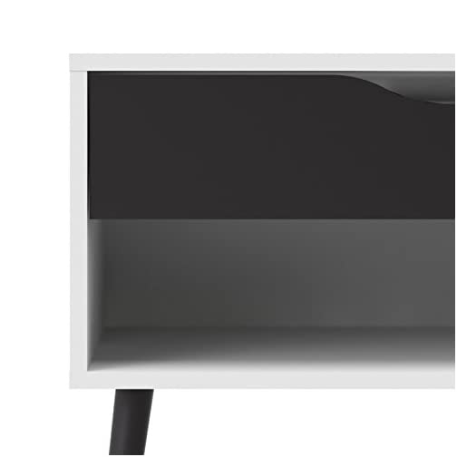 Tvilum Diana 1 Drawer Nightstand, White/Black Matte