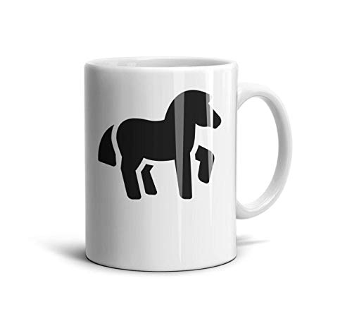 FGBLK Horse Racing Clipart Animal Tea Cups White Picture 11 oz Coffee Mug