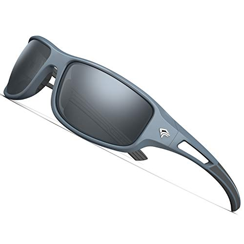 8965415c5ff TOREGE Polarized Sports Sunglasses for Men Women Cycling Running Driving  Fishing Golf Baseball Glasses EMS-TR90 Unbreakable Frame TR03 (Grey Black  Frame ...