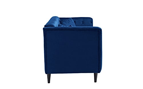 Mid-Century Tufted Velvet Sofa, Living Room Couch with Tufted Buttons (Blue)