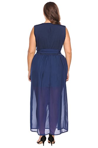 Neck Evening Calf Navy Blue Size Wedding Plus IN'VOLAND Dress Plus Floral Women's Printed Chiffon Size Mid Party V gpIwFzq