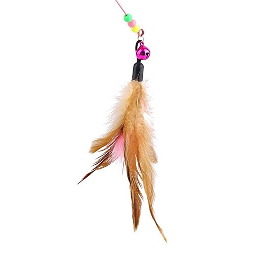 Fishfly Cat Teaser Cat Wire Dangler Wand Toys with Beads Bells and Feather Interactive 5