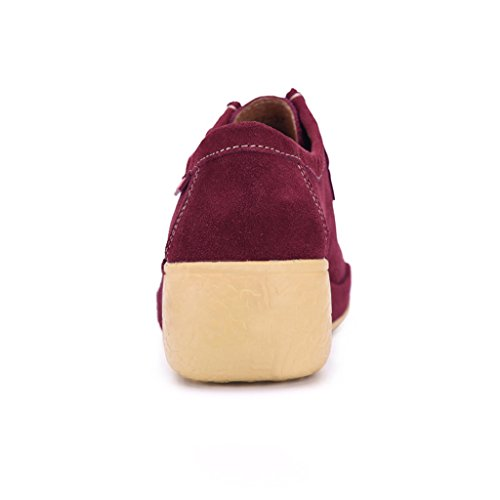 Binying Femmes Casual Lace Up Appartements De Mocassins Semelle Épaisse Mauve