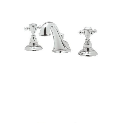 Rohl A1408XMAPC-2 C-Spout Widespread Bathroom Sink Faucet with Cross Handles, Chrome C-spout Two Handle