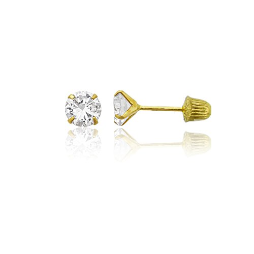 14K Yellow Gold 4mm Round Solitaire Ball Screw Back Stud Earring 14k Yellow Gold Round Solitaire