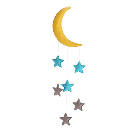 Star Baby Mobile - Exttlliy Felt Cloth Moon and Stars Baby Mobile Nursery Ceiling Crib Mobiles Kids Room Hanging Decorations