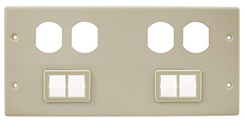 Hubbell Wiring Systems HBL47472BBTTIV Steel Metal Raceway Two Duplex Receptacle/Ortronics TracJack Mini Adapter Bezel Cover Plate, 4 Gang, 10-7/32