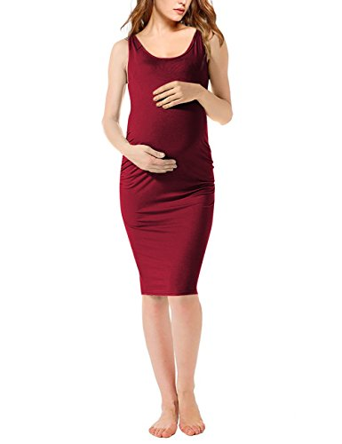 5e008a5e5150f Coolmee Maternity Dress Round Neck Sleeveless Ruched Maternity Dresses  (S,Burgundy01)