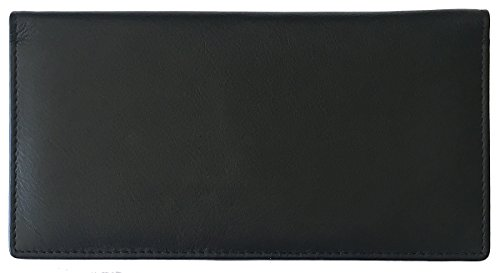 Black RFID Leather Checkbook Cover With Credit Card Slots and Pen Holder - Black Leather Checkbook Cover