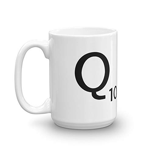 Scrabble Small Letter Q with White Background 15 Oz White Ceramic.15 Oz Coffee Mugs With Easy-Grip Handle, Suitable For Hot And Cold Drinks. Can Be Used For Home And Office.