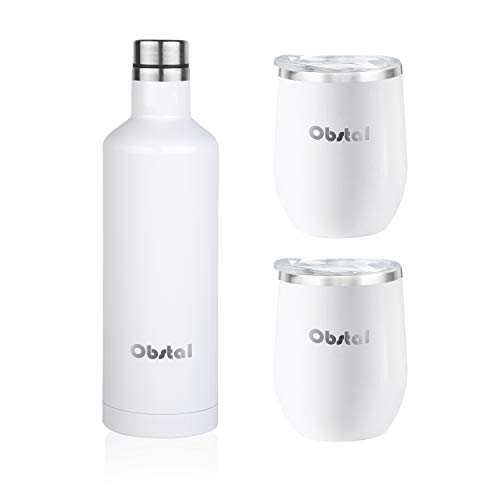 Obstal Insulated Wine Growler & 2 Wine Tumblers Set - Stainless Steel Double Wall Vacuum Wine Canteen Bottle for Gift, 18 oz, White