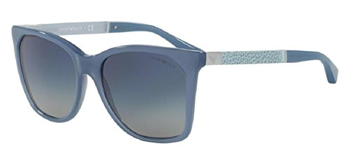 Armani EA4075F Sunglasses 55054L-57 - Opal Azure Blue Frame, Light Grey Grad Dark Blue