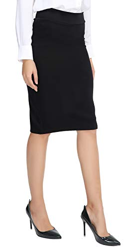 Urban CoCo Women's Elastic Waist Stretch Bodycon Midi Pencil Skirt (L, Black) (Black Pencil Skirt Pockets)