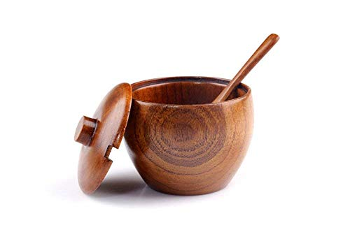 Japanese Handcrafted Sugar Bowl, Made of Natural Jujube Wood, Lidded Sugar Bowl with Spoon for Home and Kitchen ()
