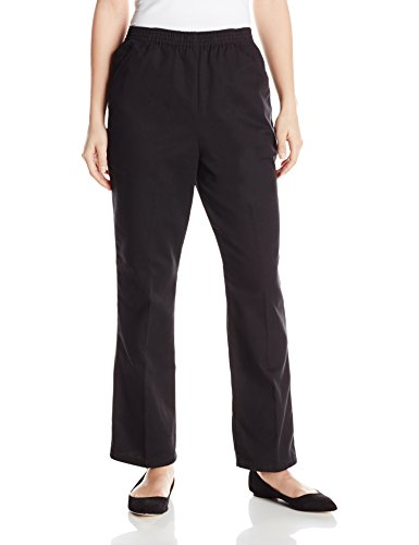(Chic Classic Collection Women's Petite Cotton Pull-On Pant with Elastic Waist, Black Twill, 16P)