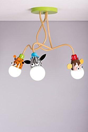 Lampadari Per Camerette Neonati.Lampadario Da Soffitto Per Bambini Con Giraffa Scimmia E Zebra Unisex Per La Meretta Lampadine A Led Incluse Amazon It Illuminazione