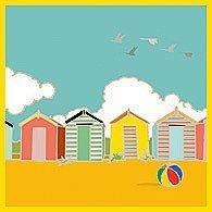 Casetas de playa y pelota