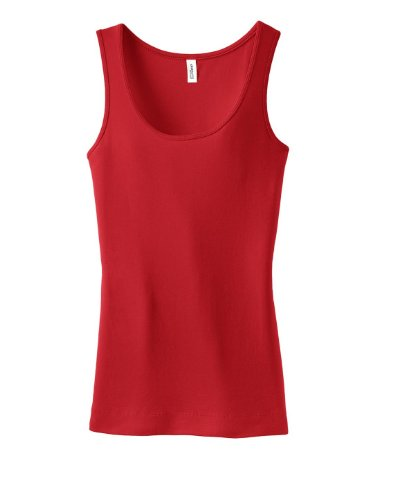 District Ladies Junior Fit 1x1 Rib Tank Top DT235 Cherry Red XXXX-Large