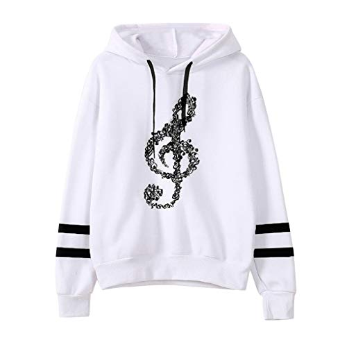 Sunhusing Ladies' Musical Notes Printing Long Sleeve Drawstring Hoodie Sweatshirt Pullover Top Black