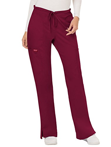 Cherokee Women's Mid Rise Moderate Flare Drawstring Pant, Wine, Medium