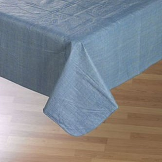 UPC 052501267956, Cafe Deauville Chambray 60x84 Oval Vinyl Tablecloth [Kitchen]...