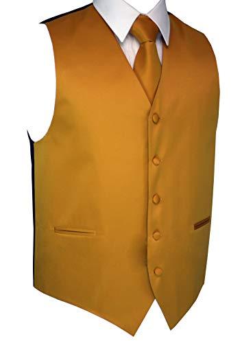 Brand Q Italian Design, Men's Tuxedo Vest, Tie & Hankie Set - Mustard - M