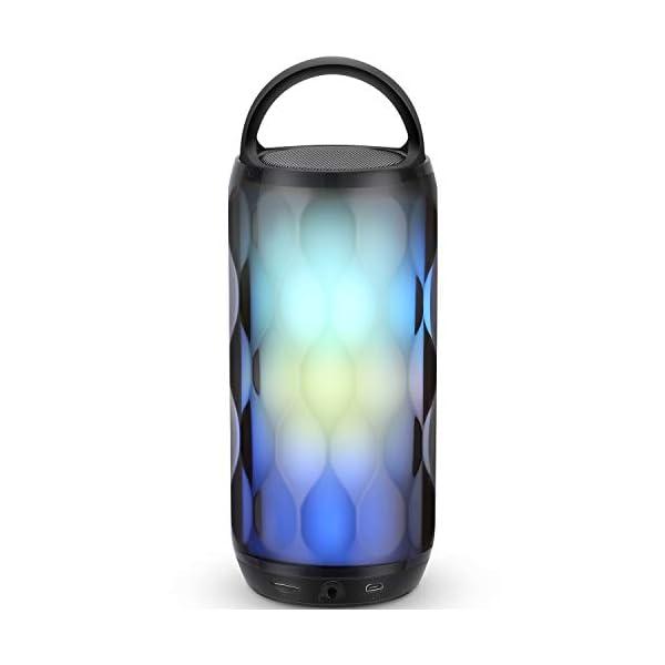 Enceinte Bluetooth Portable Haut-Parleur Bluetooth sans Fil avec 7 Modes LED Lumière AUX/SD/TF Microphone Intégré MUBYTREE 1