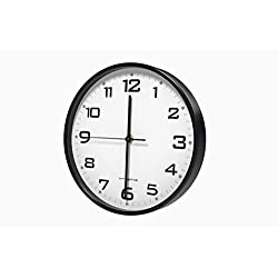 Vremi 10 Inch Silent Universal Round Wall Clock - AA Battery Operated Colorful Analog Clock for Home Office Classroom or Garage - Easy to Install Non Ticking Indoor Decorative Easy Read Clock - Black