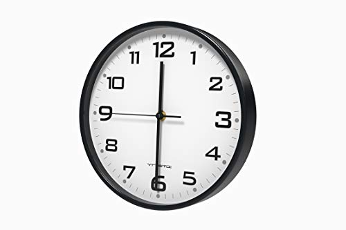 Vremi 10 Inch Silent Universal Round Wall Clock - AA Battery Operated Colorful Analog Clock for Home Office Classroom or Garage - Easy to Install Non Ticking Indoor Decorative Easy Read Clock - Black - QUIET AND NON TICKING - Wall clock for quiet work spaces in home office or kitchen, with smooth gears for a silent non-ticking second-hand motion. Features clear, large and easy to read numbers to make it a great time-telling option if you're looking for clocks for seniors STYLISH FOR BEDROOM OR BATHROOM - Modern round clock with white surface comes in 3 different color accent options to match the decor of any big or small room in your house. Basic black is well-suited for offices; bright red makes a lovely living room statement; calming blue looks lovely as a kids bedroom or bathroom wall clock AA BATTERY INCLUDED - Battery operated clock includes a long lasting AA battery to ensure time keeps ticking. Simply install the battery in the back of the clock and set the correct time using the small wheel above the battery compartment - wall-clocks, living-room-decor, living-room - 31tWLJFGZEL -