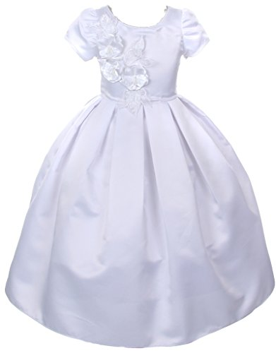 AkiDress Round Neck Cap Sleeve Pleated Satin Communion Dress for Big Girl White 14 (Round Peach Coral Bead)