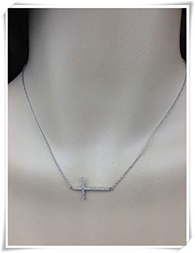 All Sterling Silver, Sideways Cross with Cubic zirconiaNecklace, Sterling Silver Chain, Celebrity Inspired Necklace